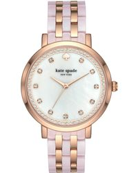 Kate Spade - Monterey Pink And Rose Gold-tone Stainless Steel Bracelet Watch - Lyst