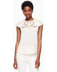 Kate Spade - Lace Embroidered Top - Lyst