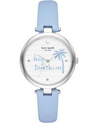Kate Spade - Varick Light Blue Leather Watch - Lyst