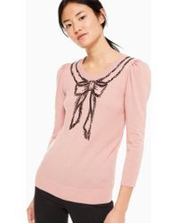 Kate Spade - Embellished Bow Sweater - Lyst