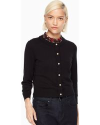 Kate Spade - Pearl Button Cropped Cardigan - Lyst