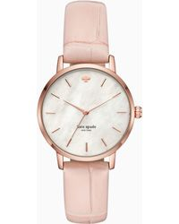 Kate Spade - Metro Pink Croc-embossed Leather Watch - Lyst
