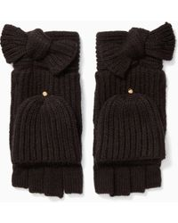 Kate Spade - Solid Bow Pop Top Mittens - Lyst