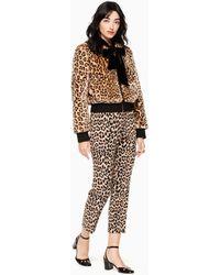 Kate Spade - Leopard Faux Fur Bomber - Lyst