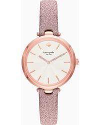 Kate Spade - Holland Pink Leather Strap Watch 34mm - Lyst