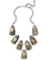 Kendra Scott - Harlow Silver Statement Necklace In Suspended Black Mother Of Pearl - Lyst