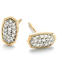 Kendra Scott - Gypsy Stud Earrings In White Diamond And 14k Yellow Gold - Lyst