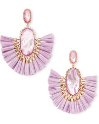 Kendra Scott - Cristina Rose Gold Statement Earrings In Lilac Mother Of Pearl - Lyst