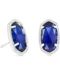 Kendra Scott - Ellie Silver Stud Earrings In Cobalt Cats Eye - Lyst
