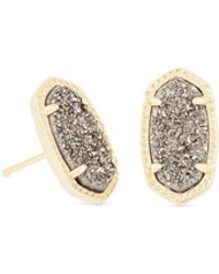 Kendra Scott - Ellie Gold Stud Earrings In Platinum Drusy - Lyst