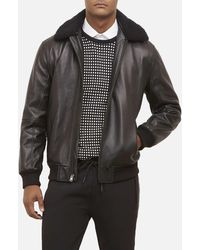 Kenneth Cole - Leather Zip Jacket With Removable Shearling Collar - Lyst
