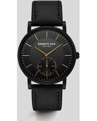 Kenneth Cole - Black Dress Sport Gold-tone Genuine Leather Watch - Lyst