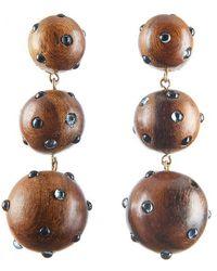 Rebecca de Ravenel - Three Drop Wooden Earrings - Lyst