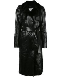 Kirna Zabete Patent Leather Shearling Trench Coat - Black
