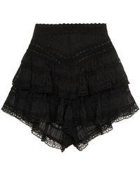 Zimmermann - Juniper Pintuck Lace Cotton Shorts - Lyst