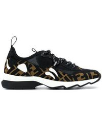 Fendi - Brown, Black And White Ff Logo Technical Mesh Trainers - Lyst