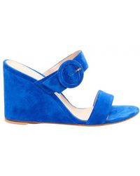 Gianvito Rossi - Blue Ming Suede Wedge Mules - Lyst