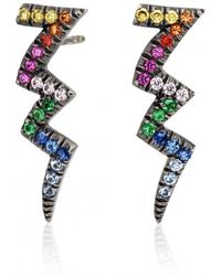Shelly Zucker Jewelry - Thunder Earring With Multicolour Stones - Lyst