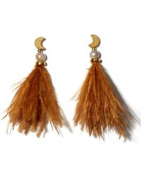 Lizzie Fortunato | Feather And Pearl Parker Earrings | Lyst