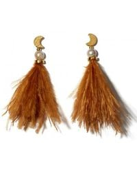 Lizzie Fortunato - Feather And Pearl Parker Earrings - Lyst