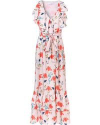 Borgo De Nor - Butterfly Print Wrap Style Ruffled Tie Waist Dress - Lyst