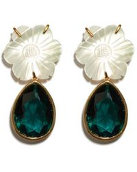 Lizzie Fortunato - Lily Pad Crystal Drop Earrings - Lyst