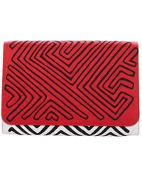 Mola Sasa - Guna Clutch - Red & Black - Lyst