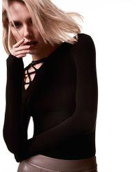 Krisa   Asymmetrical Lace Up Long Sleeve   Lyst