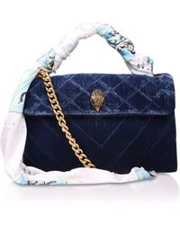 Kurt Geiger | Velvet Kensington Bag In Blue | Lyst