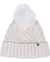 UGG - Cuff Hat Fur Pom In Winter White - Lyst