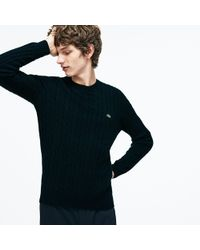 Lacoste - Crew Neck Wool Cable Knit Effect Sweater - Lyst