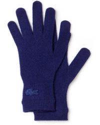 Lacoste - Cashmere Jersey Gloves With Contrast Stripe - Lyst