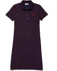 Lacoste - Slim Fit Striped Stretch Mini Cotton Piqué Polo Dress - Lyst