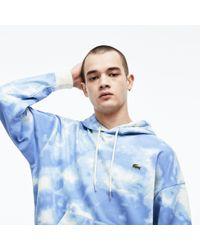 Lacoste - Live Hooded Cloud Print Fleece Sweatshirt - Lyst