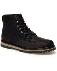 19cab73d742b Lyst - Lacoste Navy Blue Leather Boots in Blue for Men