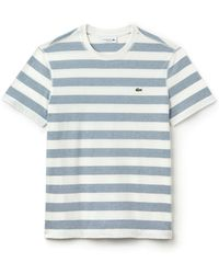 054770bcf78a Lacoste Crewneck Jersey Stripe T-shirt, Th1889-51 in Red for Men - Lyst