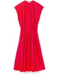 Lacoste - Fitted Cotton Poplin Dress - Lyst