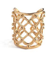 Lady Grey - Studded Lattice Ring In Gold - Lyst