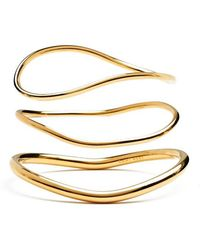Lady Grey - Wave Bangle Set In Gold - Lyst