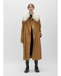 Y's Yohji Yamamoto - Cotton Twill Fur Collar Trench Coat - Lyst