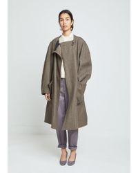 Lemaire - Felted Wool Wrapover Coat - Lyst