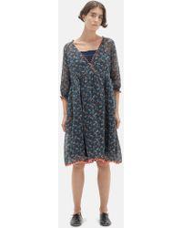 Péro - Floral Printed Cotton Silk Dress - Lyst