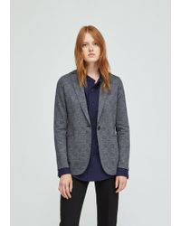 Harris Wharf London - Checked Wool Cotton Boyfriend Blazer - Lyst
