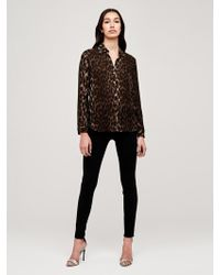 f4a33dddec80a Lyst - L Agence Nina Snakeskin-embossed Silk Blouse in White