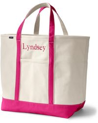 Lands' End - Extra Large Natural Canvas Open Top Tote B - Lyst