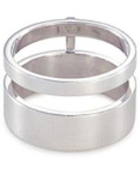 Repossi - 'berbère Module' 18k White Gold Two Row Ring - Lyst