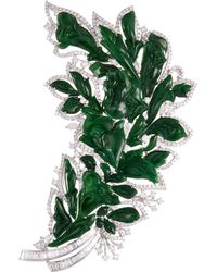LC COLLECTION - Diamond Jade 18k Gold Floral Brooch - Lyst