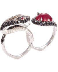 Stephen Webster - 'burma' Diamond Ruby 18k White Gold Snake Two Finger Ring - Lyst