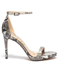 9fec39d8f91c Sam Edelman -  ariella  Ankle Strap Snake Embossed Leather Sandals - Lyst