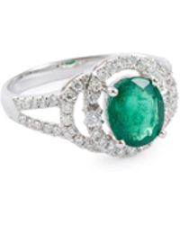 LC COLLECTION - Diamond Emerald 18k White Gold Cutout Ring - Lyst